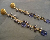 Iolite and freshwater pearl linear earrings