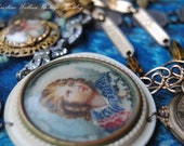 I Dream of Thee--Vintage Assemblage Rhinestone French Hand Painted Brooch Locket Coin Link NECKLACE