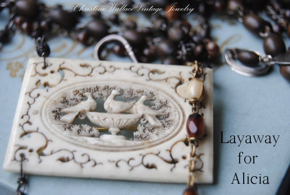 SOLD--LAYAWAY for Alicia--The English Garden--Vintage Assemblage Wood Glass Rosary Victorian Hand Carved Bird NECKLACE