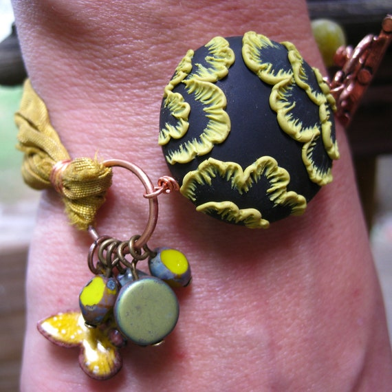 Moobie Grace - Polymer Clay Floral Bracelet - Sari Silk - Butterfly - Bohemian - Chartreuse - Lime - Copper - Free Shipping
