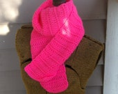 Pink Flamingo  Scarf - Handmade Crochet bohochic scarf neck wrap fall autumn winter fashion statement accessory Bright pink