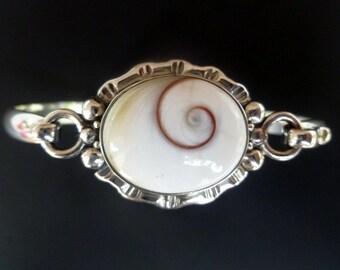 Handmade Shell Bangle - Sterling Silver Shiva Eye Bracelet - Silver White Shell Bangle with Spiral Shell - Custom Made
