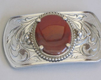 Belt Buckle Western Style Cowgirl or Cowboy Agate and Silvertone Acanthus Leaves Pattern