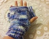 Purple Iris and White Fingerless Gloves, Handwarmers, Wristwarmers - Hand Knitted