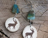 Painted Antler Earrings-DeerTotem with Faceted Peruvian Opal