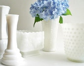 RESERVED FOR EVIE Milk Glass Vase, Wedding White Planter Collection Cottage Chic