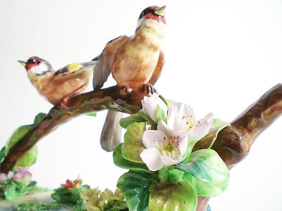 Porcelain Figurine, Antique Staffordshire Birds Colorful Collectible Home Decor