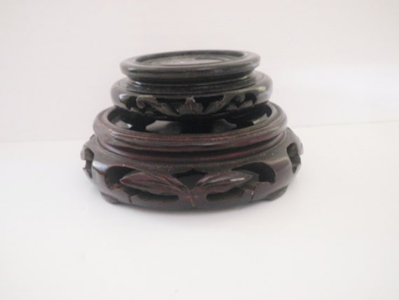 Vintage Display Stands Oriental Carved Rosewood Imari Bowl Stands
