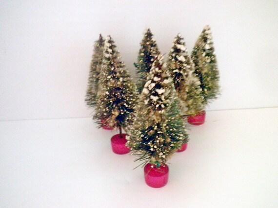 Vintage Bottle Brush Christmas Trees - Six Putz Trees Christmas Village