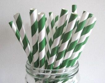 NEW LOW PRICE 25 Pine Green Striped Paper Straws Wedding Birthday St. Patricks Day Baby Shower Party / Cake Pop