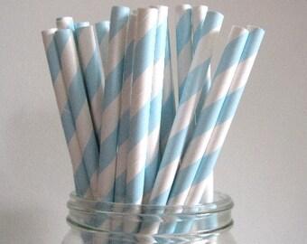 NEW LOW PRICE 25 Light Pastel Blue Striped Paper Straws Wedding Birthday Baby Shower Party /  Cake Pops