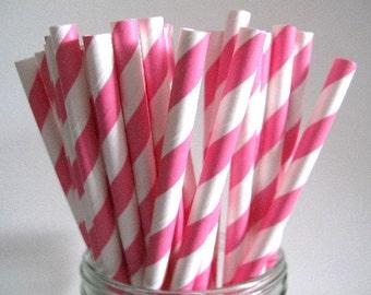 NEW LOW PRICE 25 Bubblegum Pink Striped Paper Straws Wedding Birthday Baby Shower Party / Cake Pops