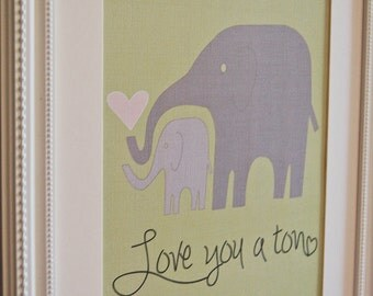 Instant Download: Digital 8x10 nursery print love you a ton elephants in green and gray