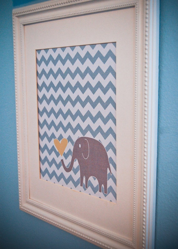 Instant Download - Digital 8x10 nursery print: blue chevron and grey elephant with heart