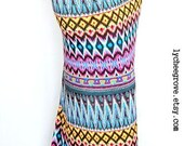 Sale Last One...Tribal Waves Long Skirt (Yellow, Aqua, Violet) - XS