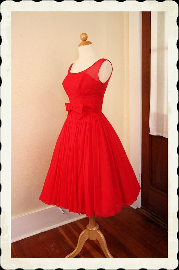 RESERVED 1950's New Look Custom Made Hot Raspberry Pink Silk Chiffon Over Satin Party Dress w/ Illusion Bust - 3D Bow - VLV - Size Petite S