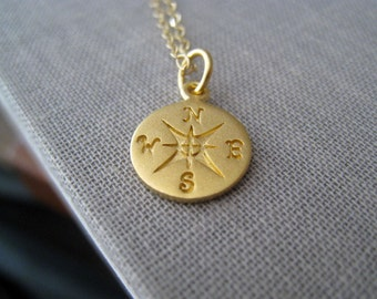 Gold Compass necklace- compass charm jewelry, world traveler, vacation, unique gift ideas