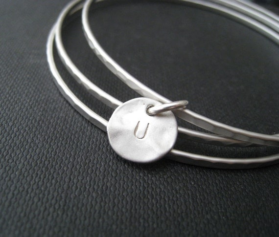 Silver initial bangles, set of 3 personalized jewelry, letter charm, initial bracelet,  hand stamped jewelry, modern chic