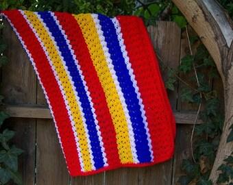 Crochet Baby Blanket Vintage Blanket Primary Colors