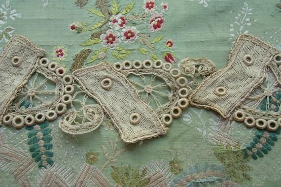 1 antique French cotton lace applique passementerie handmade millinery trim