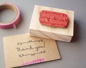 Thank You Stamp with Cursive Swirls for thank you cards, notes, tags, packaging, rubber stamp