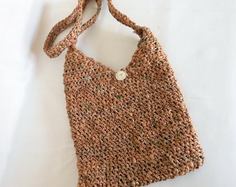 Crochet plarn purse reuse brown green Earth friendly plastic bag yarn  vintage button closure shoulder strap