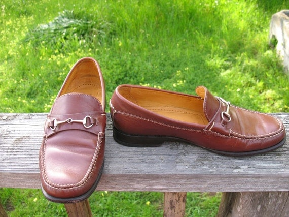 Classic Cole Hann Preppy Hipster Butter Soft Brown Leather Loafers with Brass Equestrian Hardware Size 7 B