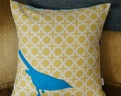 BIRD applique pillow case 20x20, yellow and turquoise