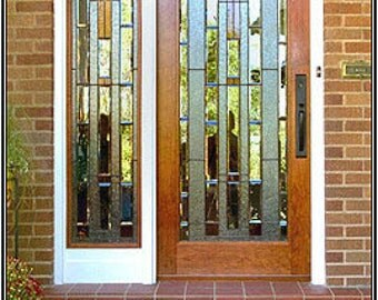 """Custom Made Mission Style Front Door with Stained Glass Panel--80"""" x 36"""" x 1.75"""""""
