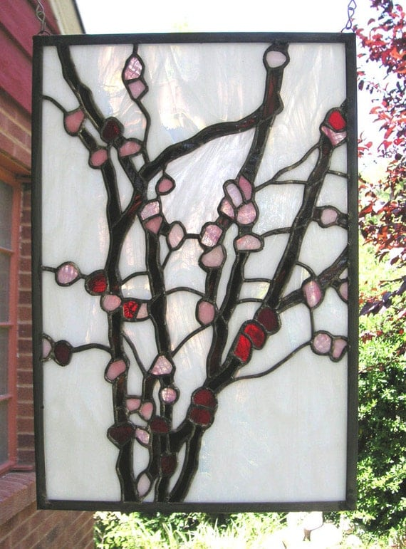 """Cherry Blossoms-12"""" x 17""""--Stained Glass Window Panel"""