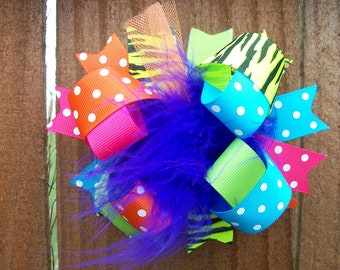Hair Bow---FULL Size Funky Fun Over the Top Bow---Bold and Bright---Funky Prints