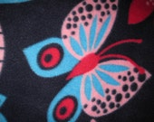 Butterflies on Dark Blue with Blue Handmade Blanket