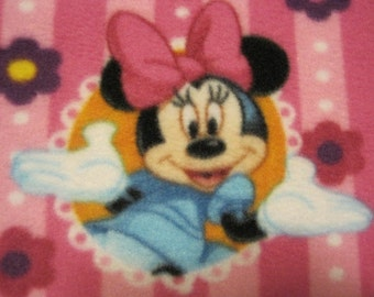 Minnie Mouse on Pink with Blue Fleece Blanket