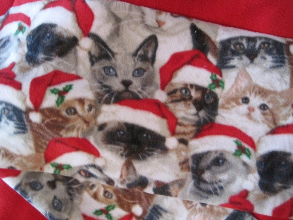 Reserved for Dawn - Cats with Santa Hats Fleece Scarf