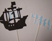 Pirate Ship Cake Topper with Name