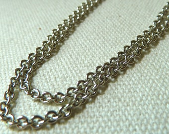 Vintage Silver Tone Cable Chain - Small Links - 2mm - Qty 3 Feet