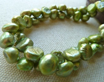 Green Nugget Pearls  /  7-8mm  /  Full Strand