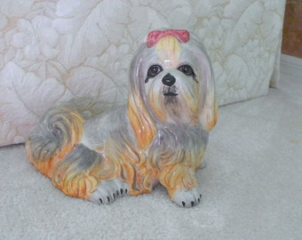 Vintage Porcelain  Shih Tzu Figurine - Collectible - Shih Tzu Statue - Porcelain Dog - Collectible - Cottage Chic - Puppy Dog - Bobann23