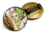 Pin Back Brass Brooch with Fairy Wearable Art