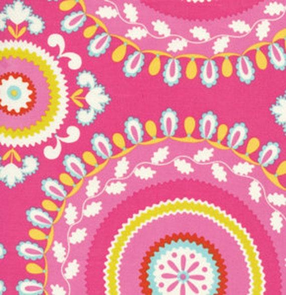 Pink Yellow and Blue Circle Fabric, Kumari Garden By Dena Designs for Free Spirit, JeevanPrint in Pink, 1 Yard