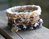 CHOCOLATE CARAMEL LATTE Braided Fabric Bracelet with Hand-Stamped Tag
