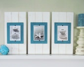Set of 3 Plank Frames-White and Turquoise for 5x7