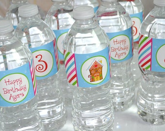 Gingerbread Party Water Bottle Labels, Holiday, Winter Birthday Party Decorations, Christmas Party Decorations - Set of 10