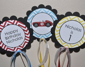 Race Car Centerpiece Sticks - Boys 1st Birthday Chevron Race Car Birthday - Party Decorations in Blue, Red, Yellow & Black - Set of 3