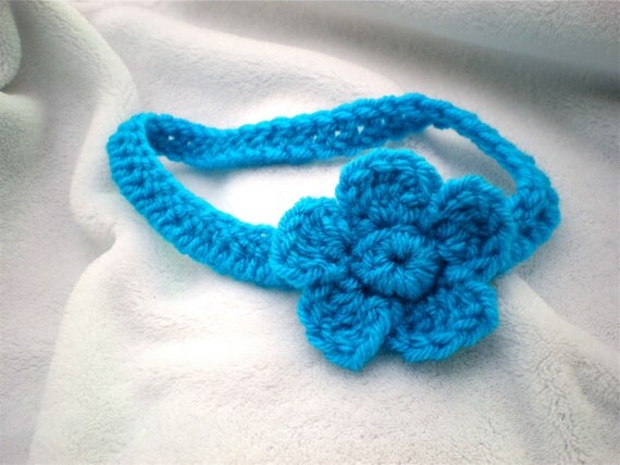 Baby/Toddler Flower Headband Knit Crocheted Yarn Bright Turquoise READY TO SHIP