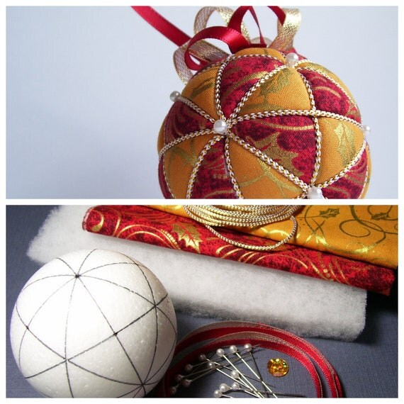 Christmas Ornament Kit-  Kazaguruma Kimekomi, Red Yellow and Gold Holly Fabric
