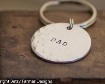 Personalized Fathers Day Gift - Kids names on Backside - DAD Keychain - Hand Stamped Sterling Keychain