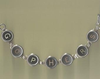Typewriter Key Bracelet - says Gophers