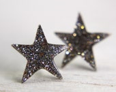 star post earrings in sparkly white gold - star stud earrings galaxy jewely