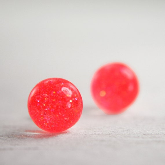 globe earrings in neon coral - 8mm round circle resin earrings glitter studs